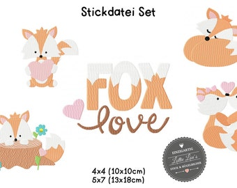 Embroidery design embroidery file set Foxy love Fox love