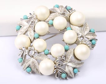 Sarah Coventry Faux Pearl and Turquoise Brooch