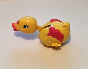 Vintage Wind Up Duck Motion ToyTurn Key Pecking Duck Yellow Plastic Rolling Bobbing  Child Toy Baby Nursery Decor Collectible Wind Toy