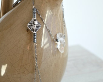 Raw Crystal Quartz Necklace, Cross Necklace Jewelry, Hematite Beads Necklace, Lariat Y Necklace, Bohemian jewelry, Crystal Quartz Gemstone