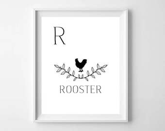 Black and White Rooster Print - Modern Nursery Decor - Modern Nursery Rooster Print - Minimalist Nursery Decor - Modern Alphabet Print