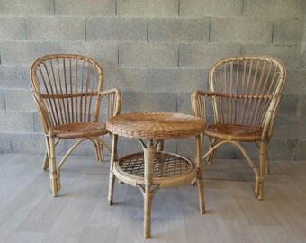 Sold - Seventies rattan garden furniture