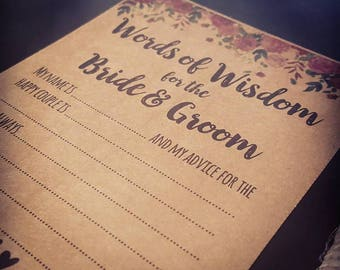 Wedding Advice Cards - Words of Wisdom Cards - Wedding Pen - Guest Book Cards - Wedding Messages - Rustic Wedding