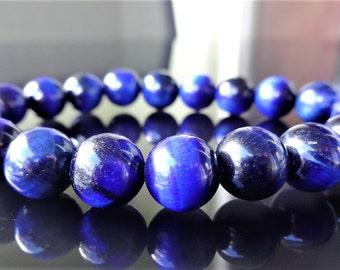 Genuine Blue Tiger Eye Bead Bracelet for Men or Women (On Stretch) 10mm AAA Quality