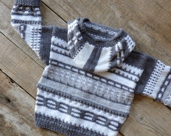 knitted coat for children with hood, Merino Wool