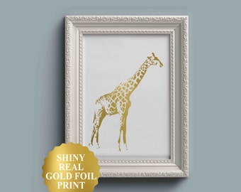 Giraffe Print, Giraffe Art, Gold Foil Print, Animal Print, Nursery Wall Art, Gold Foil Giraffe Poster, Girl Nursery Decor Girl Nursery Print