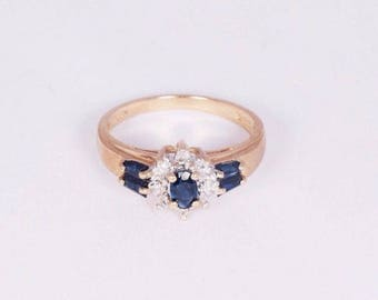 10K Yellow Gold Sapphire and Diamond Chip Ring, size 6.5