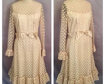 Vintage 1950's Richilene Ivory Polka Dot Dress