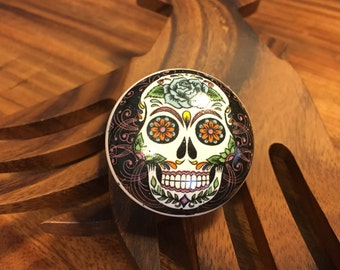 CLEARANCE Day of the Dead Hand Painted Ceramic Knob, Furniture Upgrade Cabinet Knobs Skull Painting On Pull, Item #489741027