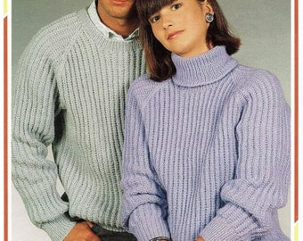 f682c766e84f0e HIS  N HERS Sweaters with crew or polo neck. In 32 to 42 in chest size.  Double knitting.  4.02 · 1955 Ladies Short Sleeved Sweater Jumper Knitting  Pattern ...
