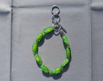 Green Czech Glass beads  bracelet