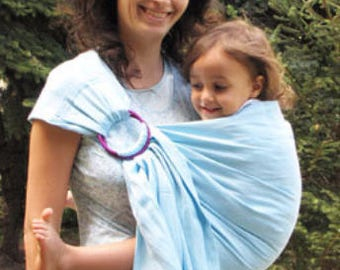 Summer Ring Sling Pure Linen Baby Sling Baby Carrier Wrap Conversion Newborn Toddler Carrier Baby Ring Sling Infant Light Blue 100% Linen