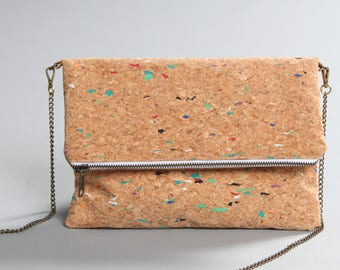 Cork bag, cork with colors bag, woman cork bag, cork clutch bag, cork handbag, cork purse, cork crossbody bag, cork folding bag, Lagut Shop