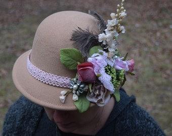 Victorian style tan rose cloche