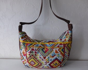 Hobo, shoulder, jacquard, multicolor, ethnic fabric, Brown leatherette, spring, travel, shopping