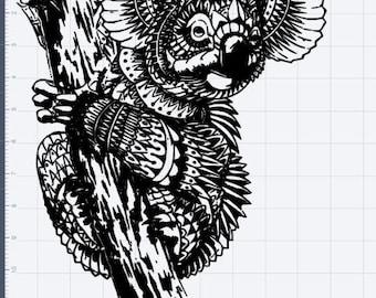 Mandala Koala Bear Design SVG EPS DXF Studio 3 Cut File