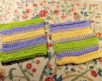 Two Hand Crocheted Cotton Dish Cloths