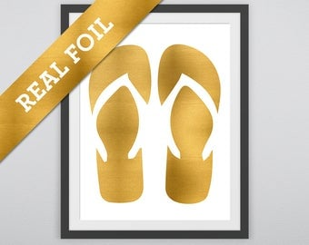 Flip Flops Print #2: A pair of Flip Flops printed in Real Gold Metallic Foil - Summer Prints - Beach - Salt Life - Fun - Nursery Wall Print