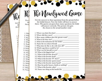 The Newlywed Game  - Printable Black Gold Glitter Polka Dot Bridal Shower Game - Bachelorette Games - Hens Party Game 025