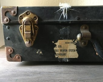 Vintage Suitcase, Military Shipping Suitcase-Large, Black Suitcase, Old Suitcase, Suitcase Luggage