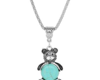Teddy Bear Necklace Silver Turquoise Pendant - Elegant Gift Box
