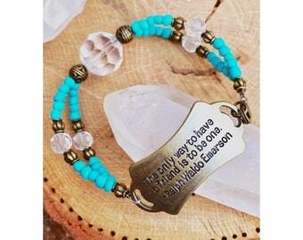 Rusty Gold & Turquoise Friendship Quote Bracelet (Ralph Waldo Emerson)