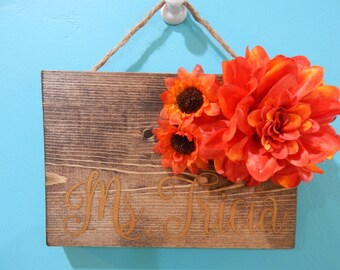 Small Hanging Name Sign with Flower