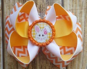 Orange and White Chevron Easter Bunny Bow  - Layered Ribbon Bow - Lined Clip Bow - Party Bow - Summer Bow - Girls Boutique Easter Bow