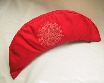Yoga pillow Croissant, Crescent, comfortable meditation cushion, wellness, wellbeing, red, embroidery, ornaments, Mehndi