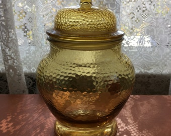 Vintage Amber Glass Canister Apothecary Jar Collectable Glass Kitchen Storage Bathroom Storage Home Decor