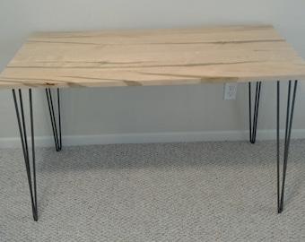 Custom  Edge-glued Work Table with 3-rod Hairpin Legs