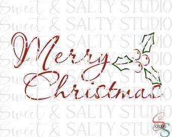 merry christmas holly berries digital file
