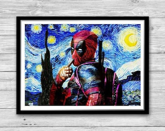 Deadpool Print, Starry Night Print, Reproduction of Van Gogh, Deadpool Painted Poster, Gifts for him Deadpool, Wall Art Print, Deadpool