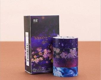 4 x 3m Washi tape set scrapbooking Scrapbook Planner accessories flowers cherry blossom purple pink elegant black blue patterned Band Klebeban
