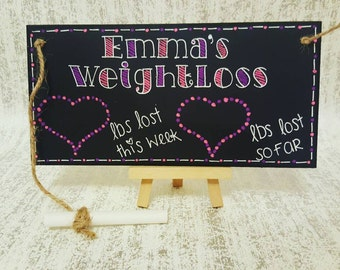 Weight loss motivation tracker plaque. Weight watchers, slimming world. Gift 20cm by 10cm