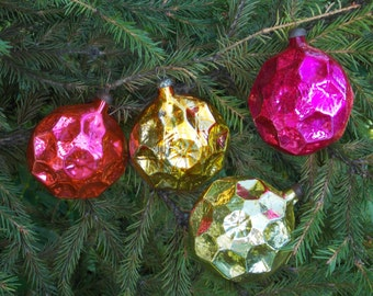 Set of 4 Christmas ornaments Christmas tree Decorations USSR decoration Holiday decor glass colour ornaments abstract decor xmas outdoor