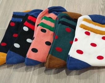 5 PC Set/Women's Polka Dot Casual Festive Socks/ Gift Fashion Cotton Sock
