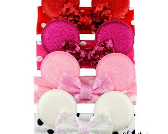 Minnie Mouse Headband-pink headband-Baby Headband-Toddler Headband- Hair Bows-Minnie mouse pink headband-Minnie Hairbow