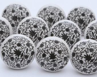 Black & White Ceramic Knobs Ceramic Door Knobs Kitchen Cabinet Drawer Pulls
