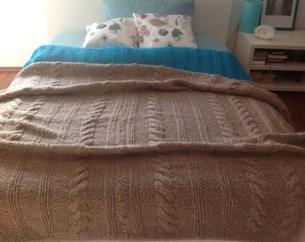 Knitted blanket bedspread Plaid wool Alpaca beige virgin wool