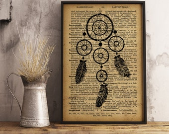 Dreamcatcher Print Wall Decor, Native American decor Tribal print, Dream catcher Illustration, Dreamcatcher on dictionary page (D06)