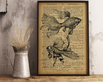 Goldfish print Nautical poster Sea decor, Goldfish poster, Fish Art Home Decor Gift Poster Goldfish wall art Goldfish gift R41