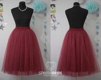 50 WINE Marsala Tulle Skirt Casual Women's, Bordo Tulle Skirt Bridal, Princess Women Tulle Skirt, Princess Skirt, Wedding Wine Tulle Skirt