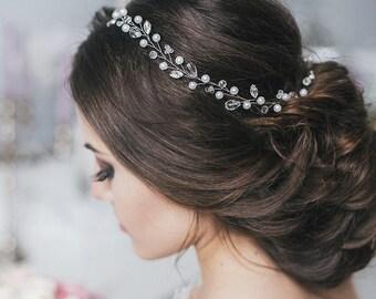Wedding Crystal Hair Piece Wedding Hair Vine  Pearl Hair Accessories  Pearl Crystal Vine  Bridal Hairpiece  Bridal Crystal Hair Vine