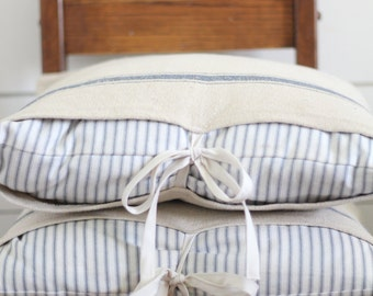 Ticking Stripe and Grain Sack Pillow Cover - Available in Blue, Tan and Black Stripes