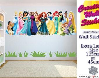 Disney Princesses Wall Art/Decal Sticker Kids Room w125cm x h45cm