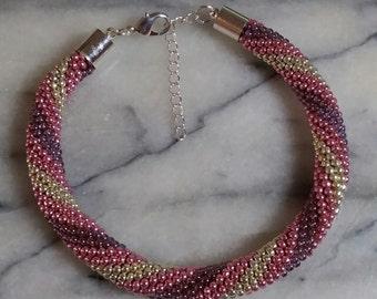 Silver Pink & Purple Spiral Bracelet