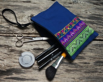 Large blue make-up case with ethnic embroidery
