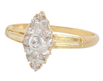 Victorian Diamond Ring | Antique Engagement Ring in Yellow Gold | Marquise Shaped Edwardian 1890s Vintage Estate Ring  || 17489