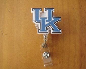Football Basketball Kentucky Retractable Reel ID Badge Lanyard Clip Nursing Scrubs